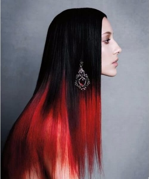 black and red ombre hair