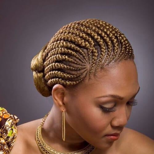 goddess golden ghana braids