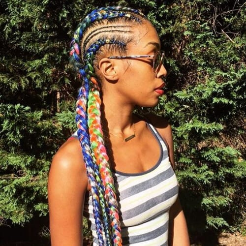 multicolored ghana braids