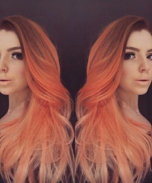 peach red ombre hair