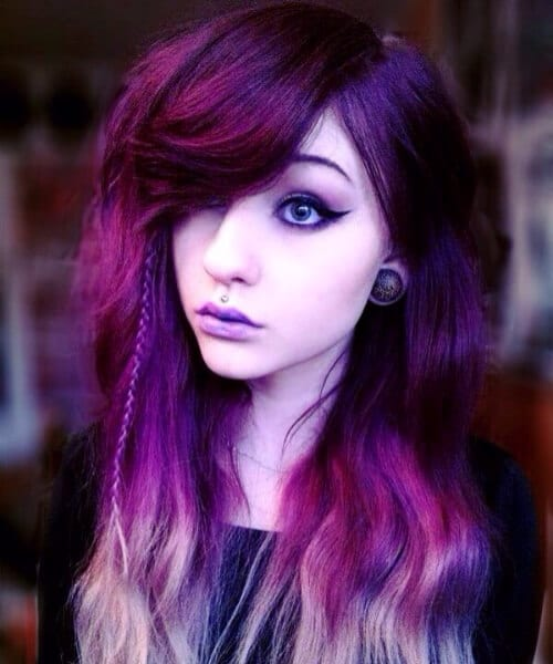 purple ombre hair braid