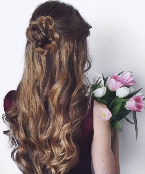 romantic updo braid rose homecoming hairstyles