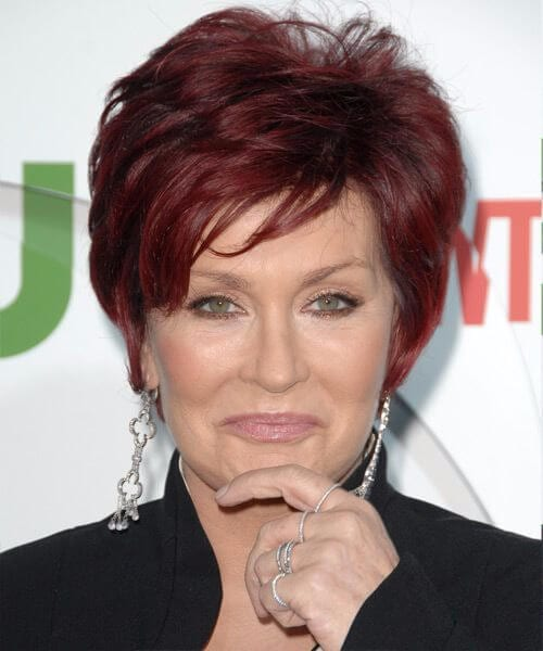sharon osbourne soft fringe layered pixie hairstyles for women over 50