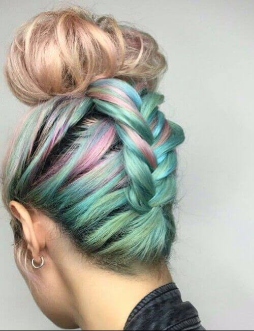 Braided up rainbow dyed bun hair bridesmaid hairstyles