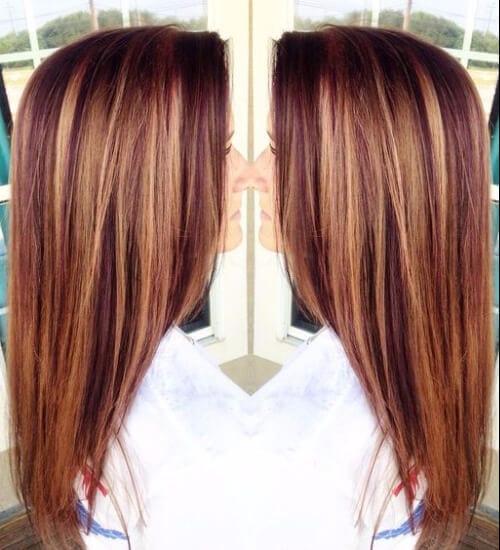 Caramel & Auburn Lowlights auburn hair color