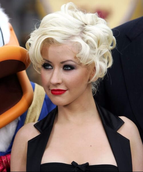 christina aguilera updos for short hair