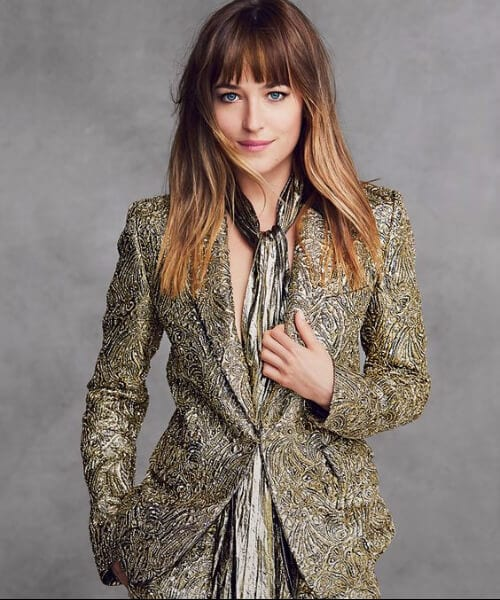 dakota johnson shag haircut bangs ombre