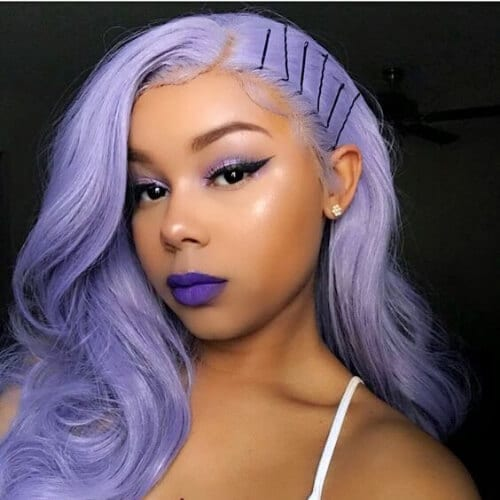 lavender sew in hairstyles
