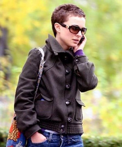 natalie portman boyish updos for short hair