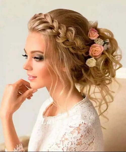 prom updos front french braid messy bun flowers
