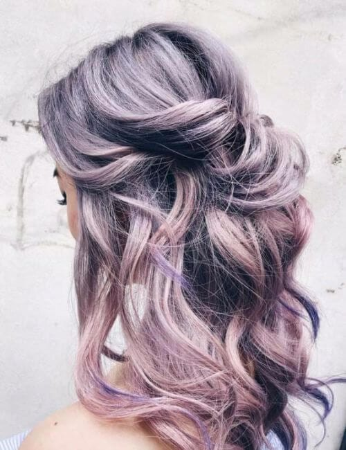 purple hair bridesmaids hairstyles