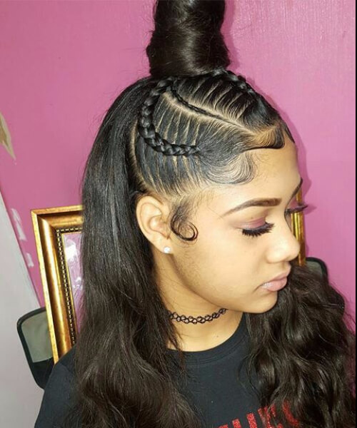 queen top bun sew in hairstyles