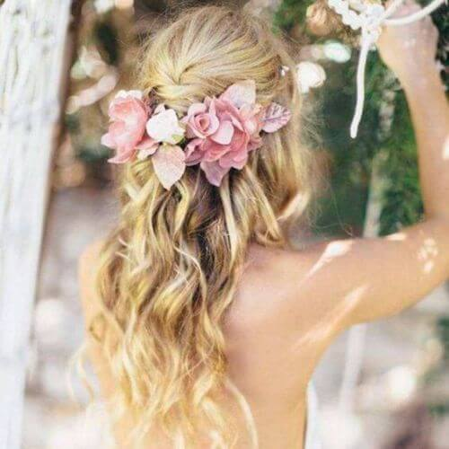 Wedding Updo Beach Waves Pink Flower Crown