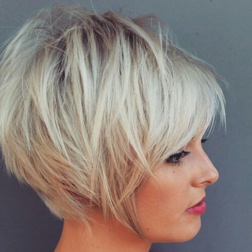 Short Stacked Bob with Bangs
