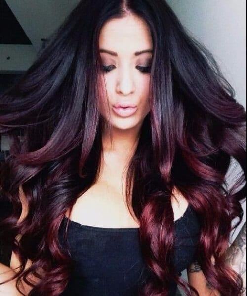 black to cherry ombre hair