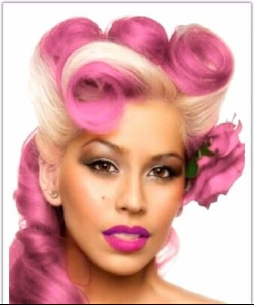pink and ivory pin up hairstyles