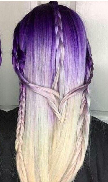 purple ink to ice blonde ombre hair