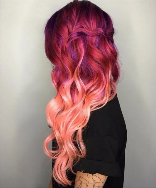 rose red purple to coral ombre hair