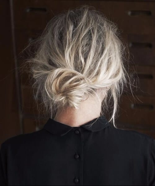 extremely teased low bun hairstyles for thin hair