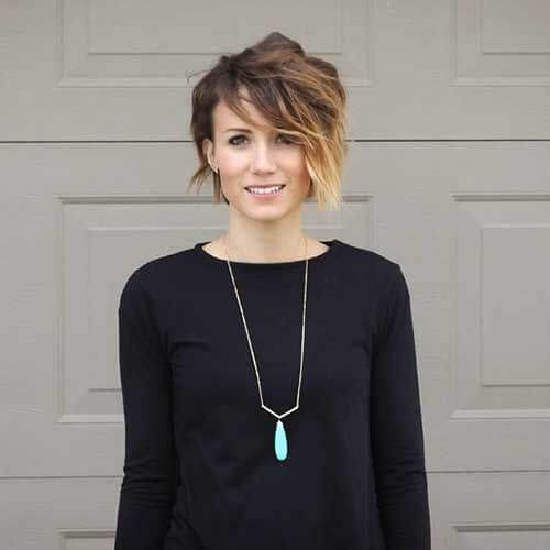 ombre long pixie cut
