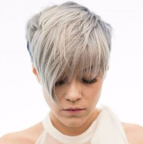 side cropped long pixie cut