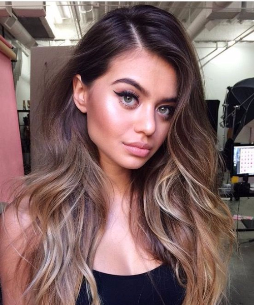 brunetter and caramel balayage hair color