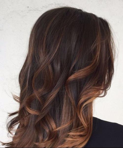 chocolate and caramel balayage hair color