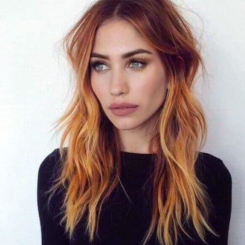 copper balayage hair color