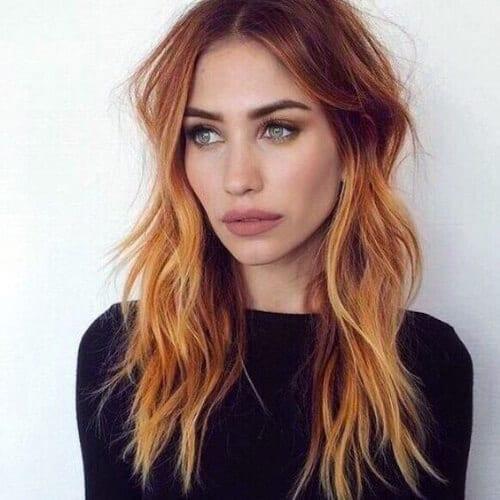 cobre balayage color de pelo
