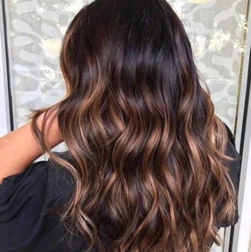 oscuro de coco balayage color de pelo