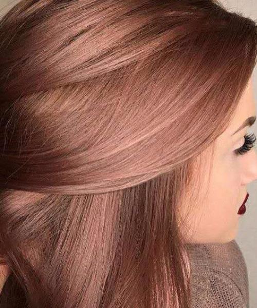 dark rose gold balayage hair color