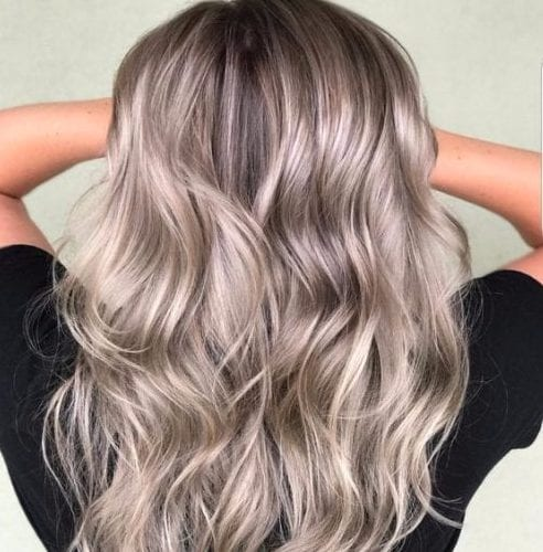 gray and beige balayage hair color