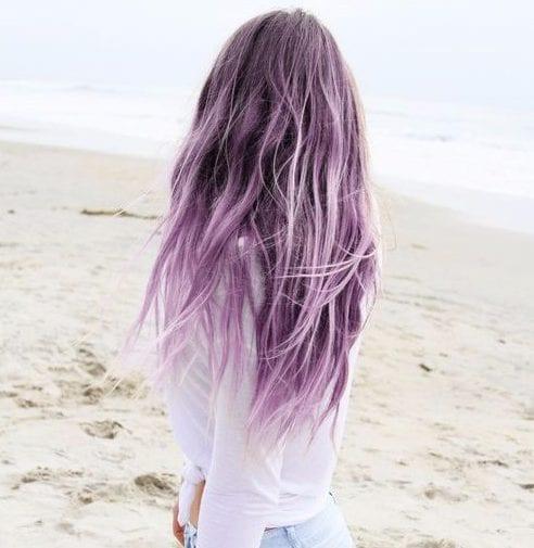 lila balayage color de pelo