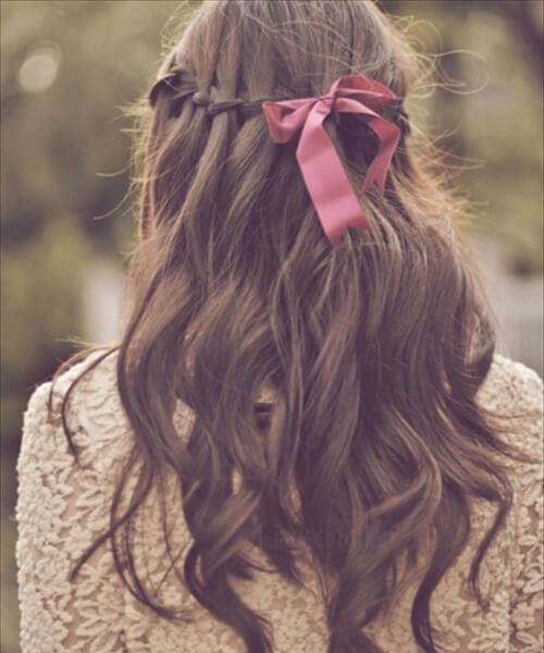 medium length hairstyles with ribbon