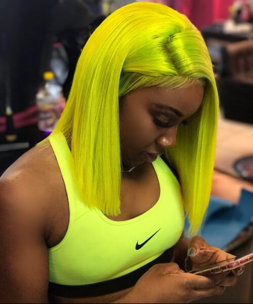 neon yellow weave hairstyles