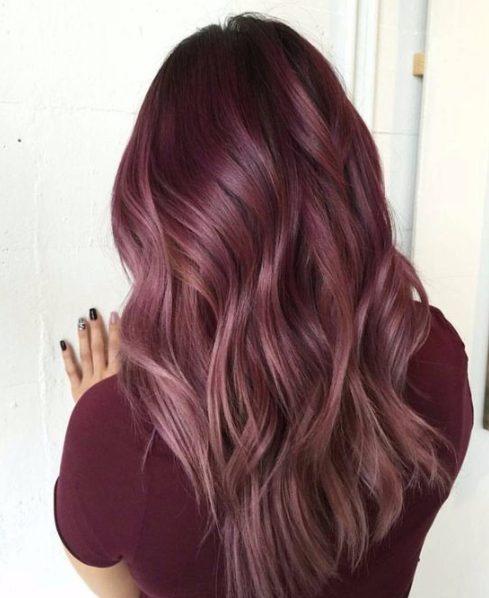 pink rosewood balayage hair color