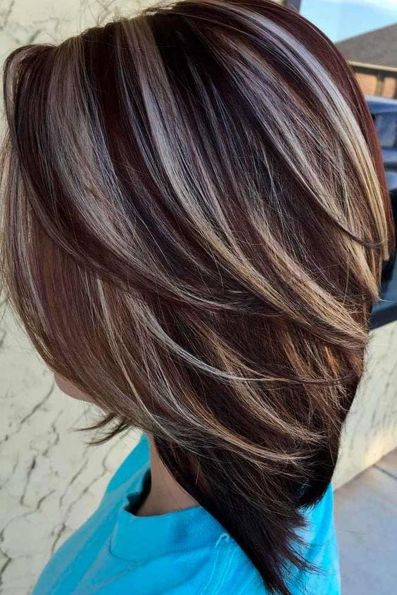Coffee and cream #lowlights and #highlights brown hair with blonde highlights