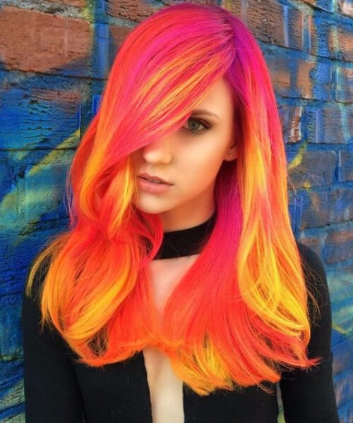 Dark Phoenix using neons of Fuschia, Orange, Yellow fall hair colors