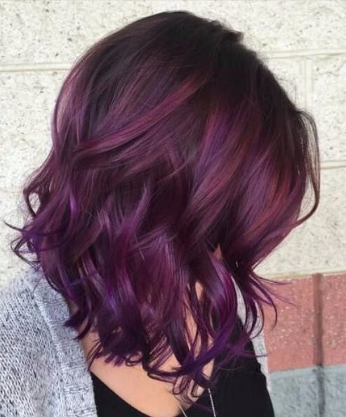 Dark plum to people ombre plum hair color