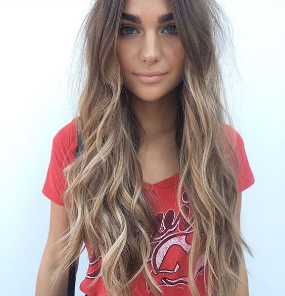 Long Wavy Dark-Blonde Hair with Pale-Blonde Balayage brown hair with blonde highlights
