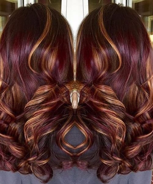 burgundy and gold infusion fall hair colors