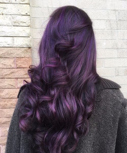 dark purple with curls plum hair color