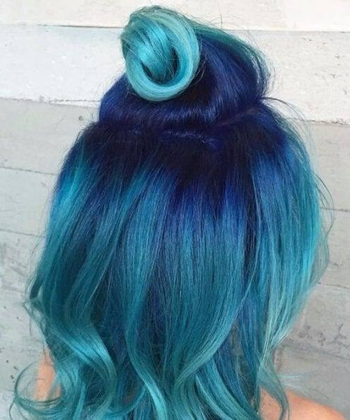 half up half down teal hair color