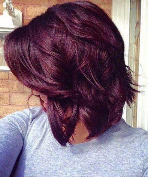 long bob plum hair color