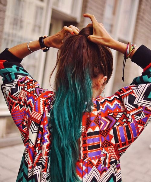 mahogany and teal hair color