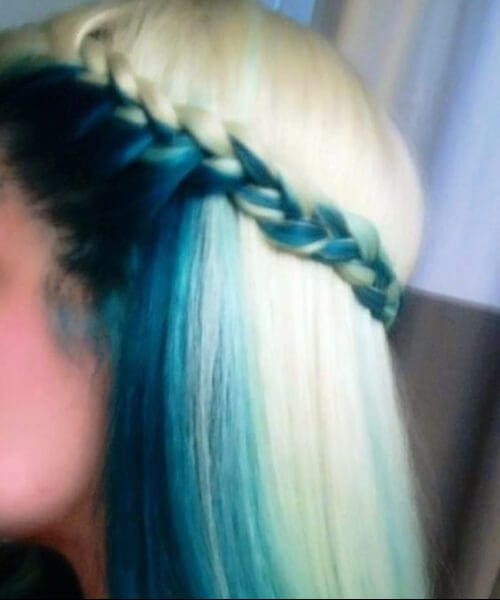 under layer and frame teal hair color