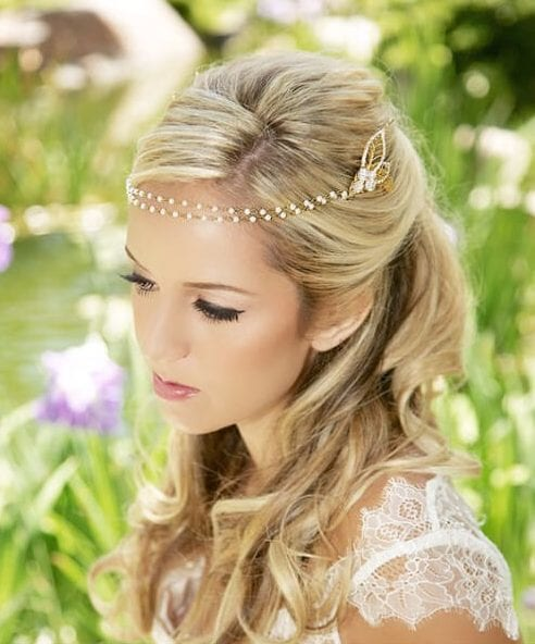 Gold, Pearl, Crystal Chain Wrap Headband wedding hairstyles for long hair