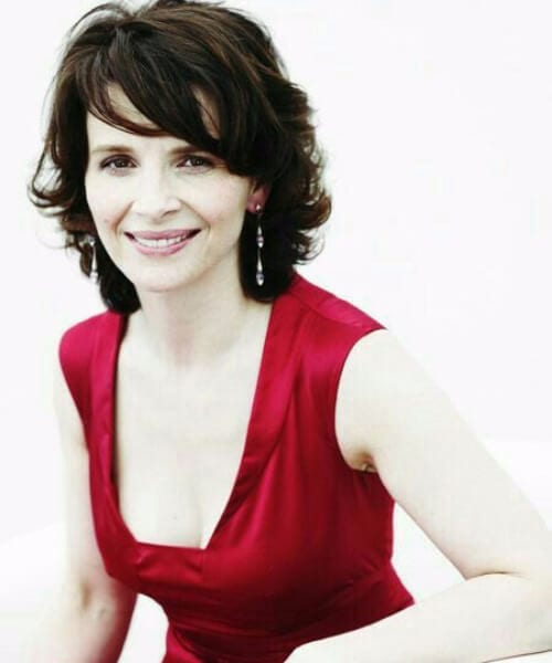 Juliette Binoche side swept bangs