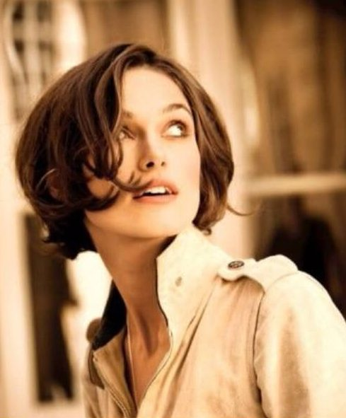Keira Knightley as Chanel's Coco Mademoiselle short hairstyles for thick hair