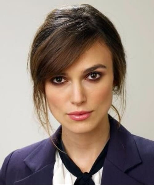 Keira Knightley side swept bangs